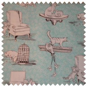 Bad Kitty Kats fabric-turquoise