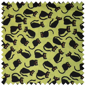 Black Silhouette Cats-Lime