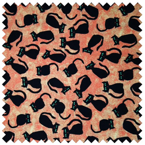 Black Halloween cats on orange background.